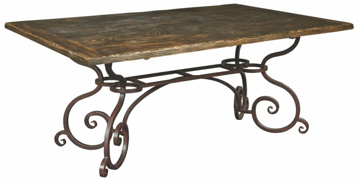 "Artisans Shoppe 72"" Black Forest Rectangular Dining Table With Metal Base"