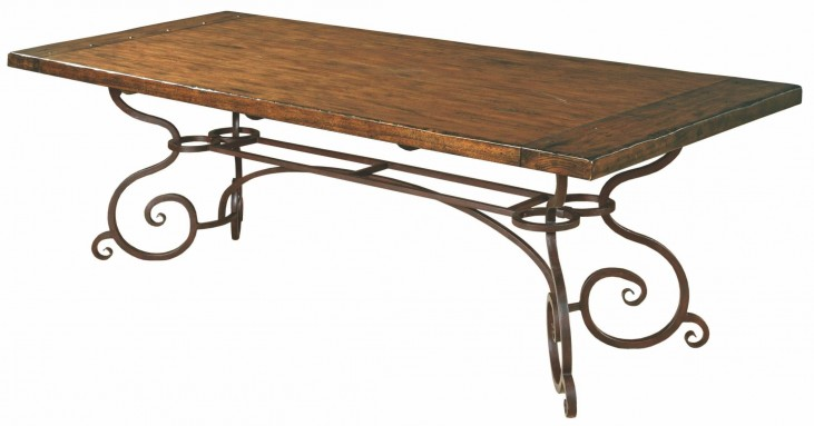 "Artisans Shoppe 94"" Tobacco Rectangular Dining Table with Metal Base"