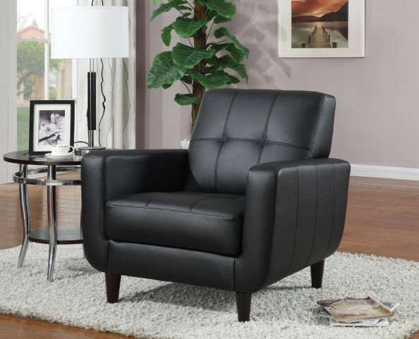 Black Vinyl Accent Chair 900204