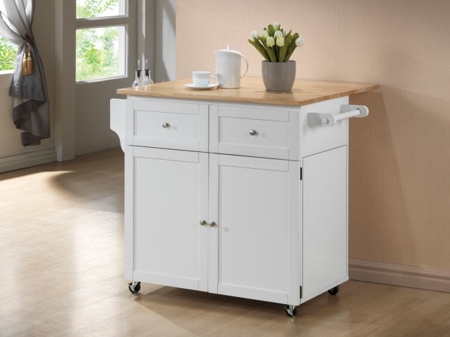900558 White/Natural Kitchen Cart