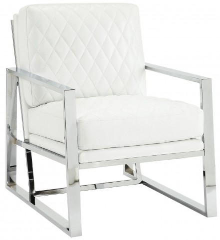 White Leatherette Accent Chair