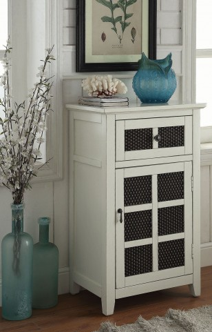 Antique White 1 Drawer Accent Cabinet