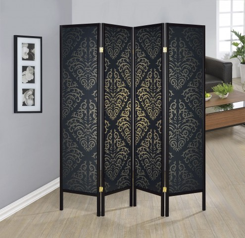 Black Damask Print Folding Screen