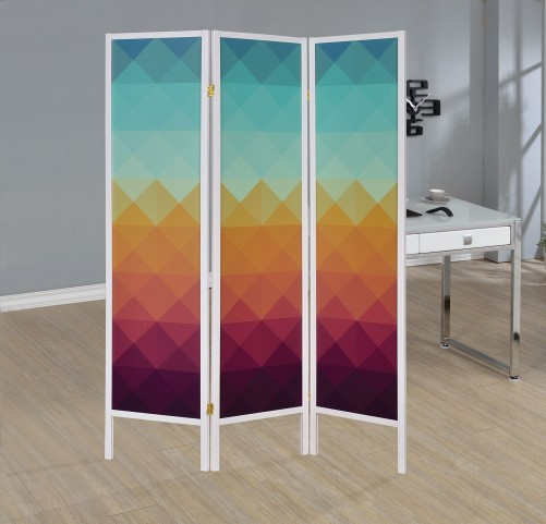Colorful Geometric Print Folding Screen