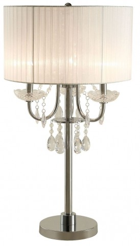 Sheer White Fabric Table Lamp Set of 2