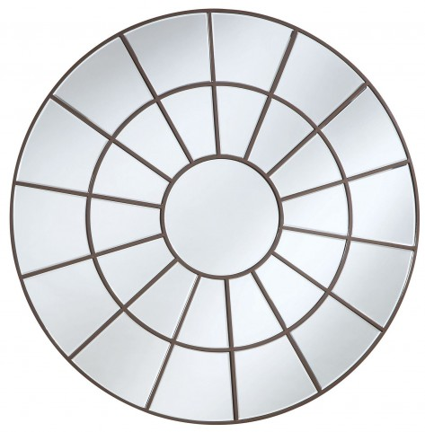 Brown Decorative Circular Mirror