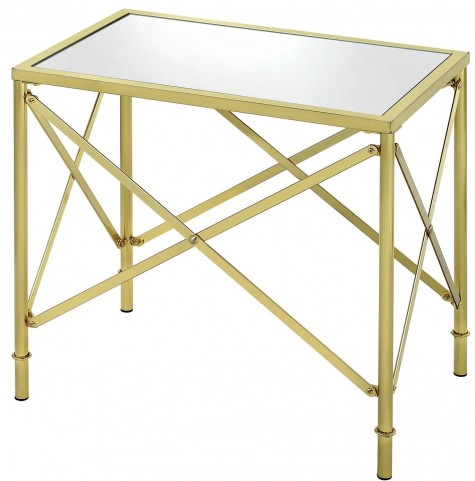 Washbourne Brushed Brass Rectangular Accent Table