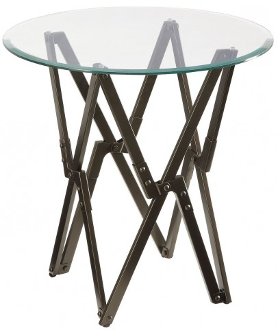 Round Glass Top Accent Table