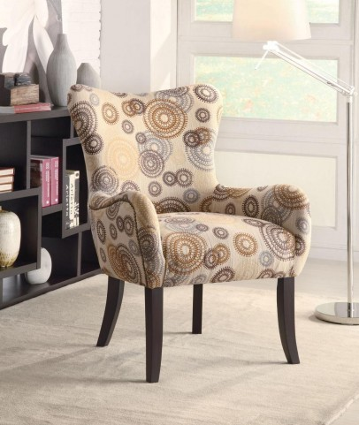 Perfect Match Beige Circle Design Accent Chair
