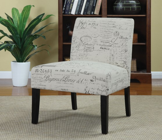 Finley French Script Pattern Accent Chair