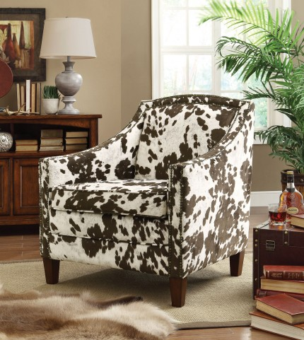 902134 Brown/White Cow Pattern Accent Chair