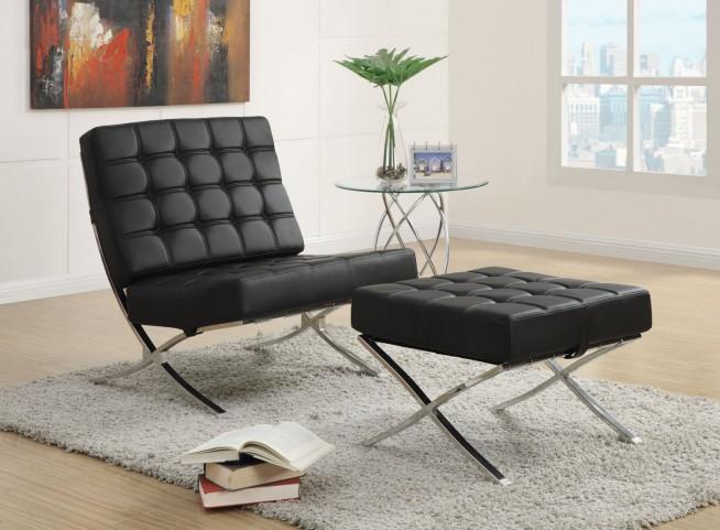 902181 Black/Chrome Accent Chair