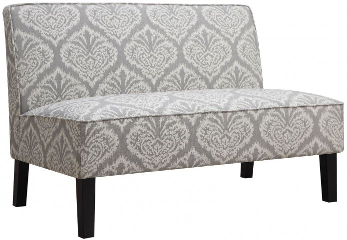 Grey Printed Fabric Settee