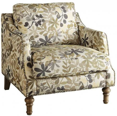 Leaf Print Beige Fabric Accent Chair