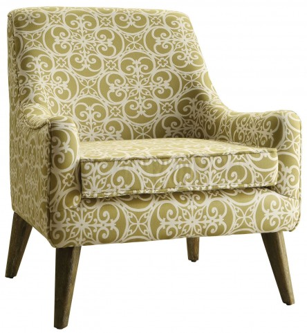 Green and White Fabric Accent Chair