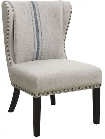 Gray Linen-Like Fabric Accent Chair