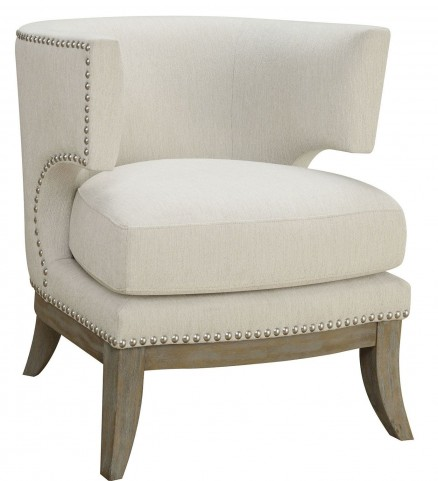 White Chenille Accent Chair