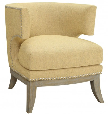 Bumblebee Yellow Chenille Accent Chair