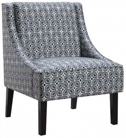 Tinted Blue Pattern Accent Chair