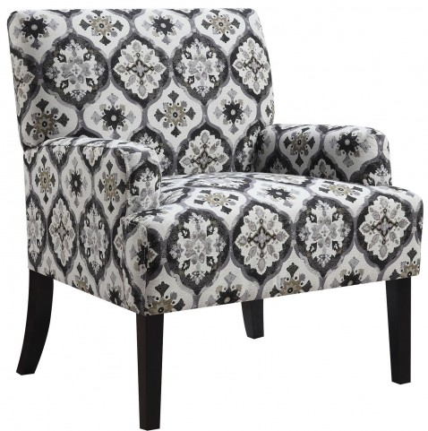 Grey Kaleidoscope Pattern Accent Chair