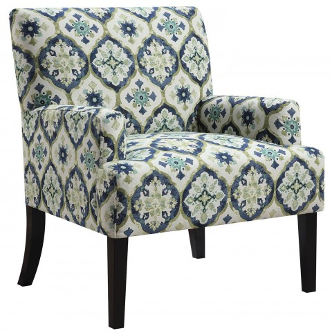 Blue And Green Kaleidoscope Pattern Accent Chair