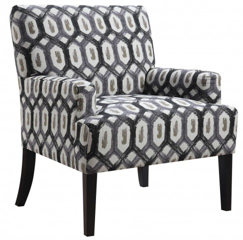 Dark Grey Geometric Pattern Accent Chair