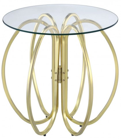 Brass Interlocking Rings Accent Table