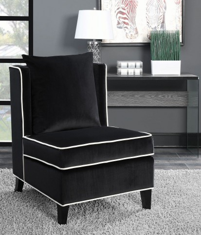 Black and Dark Brown Accent Chair