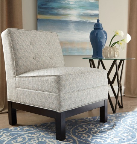 Oatmeal and Blue Fabric Chair