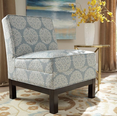 Sky Blue and Oatmeal Fabric Chair