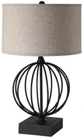 Black Linen Shade Table Lamp