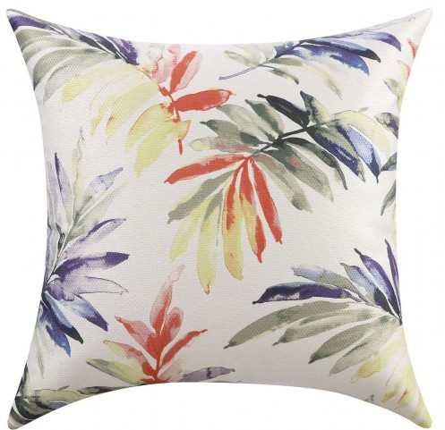 Green And Purple Watercolor Leaves Accent Pillow Set of 2