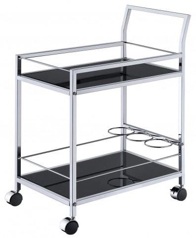 Black Chrome Black Tempered Glass Serving Cart