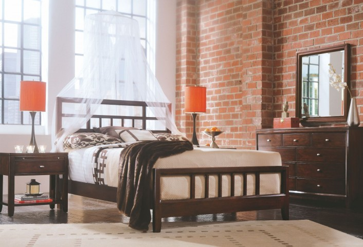 Tribecca Root Beer Slat Bedroom Set