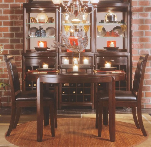 Tribecca Root Beer Round Leg Extendable Dining Room Set