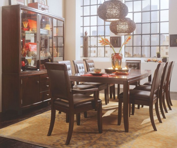 Tribecca Root Beer Leg Extendable Dining Room Set