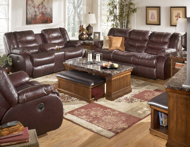 Revolution Burgundy Reclining Living Room Set