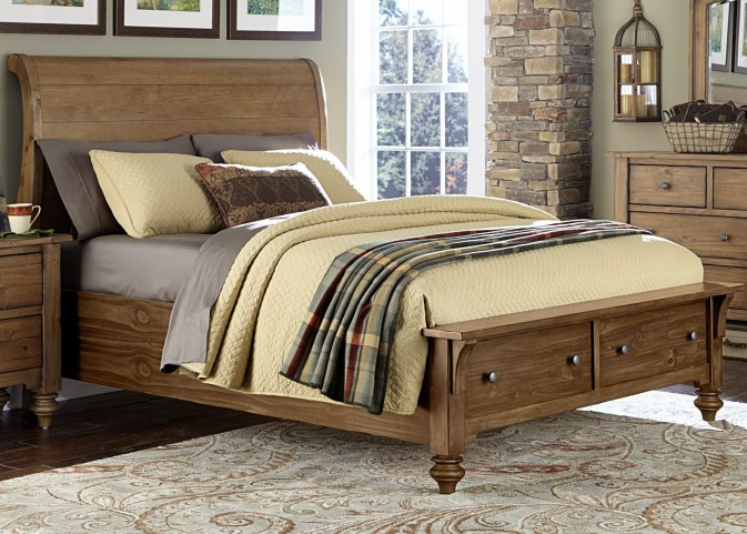 Southern Pines II Queen Sleigh Storage Bed