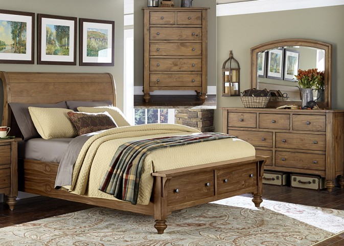 Southern Pines II Sleigh Storage Bedroom Set