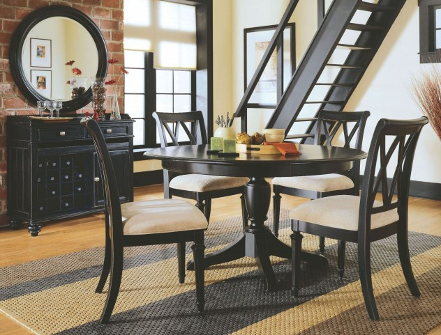 Camden Black Round Dining Room Set