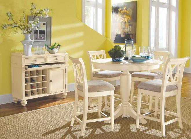 Camden Buttermilk Round Counter Height Pedestal Dining Room Set