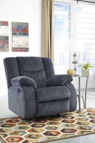 Garek Blue Rocker Recliner