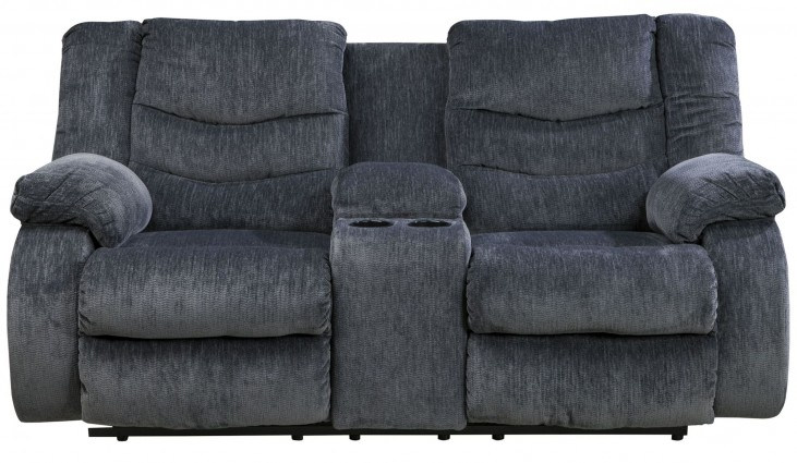 Garek Blue Double Reclining Loveseat with Console