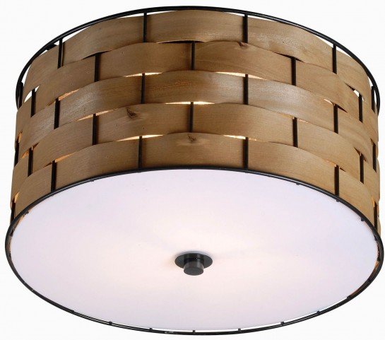 Shaker Dark Woven Wood 3 Light Flush Mount