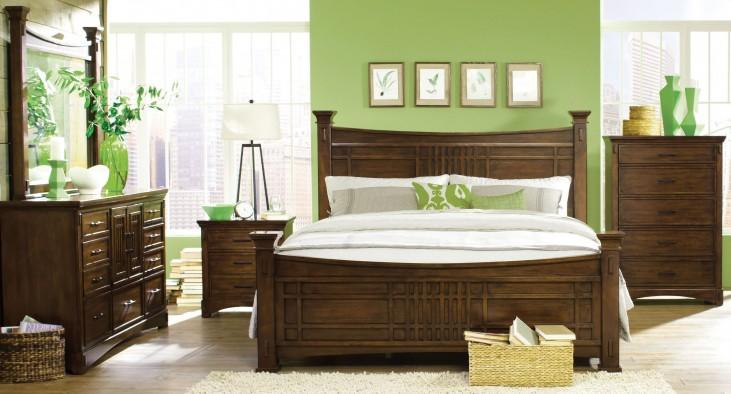 Artisan Loft Warm Medium Oak Column Bedroom Set
