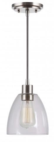 Edis Brushed Steel 1 Light Mini Pendant