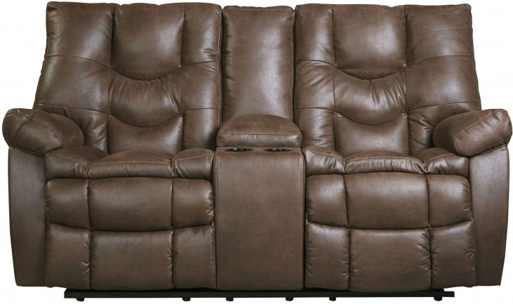 Burgett Espresso Glider Power Reclining Loveseat with console