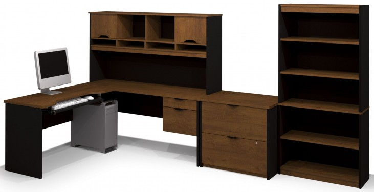 Innova Tuscany Brown & Black L-Shaped Workstation Set