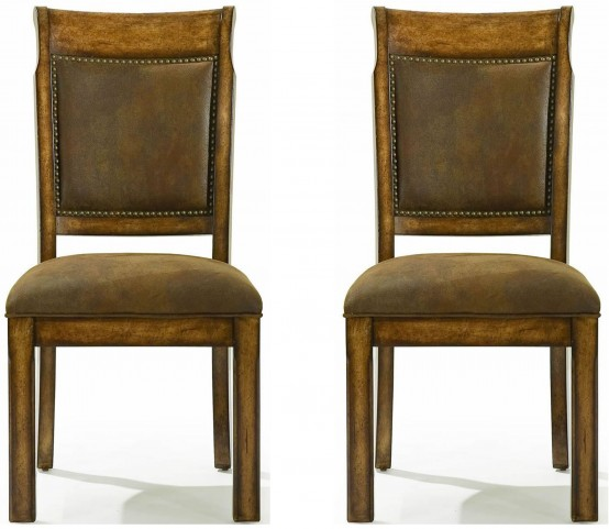 Larkspur Burnished Caramel Upholstered Back Side Chair Set of 2