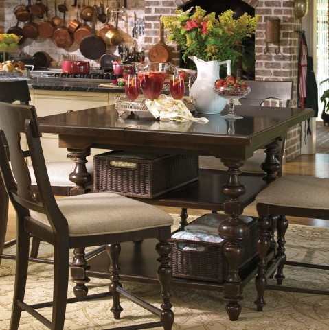 Paula Deen Home Tobacco Kitchen Square Extendable Gathering Table
